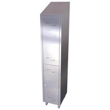 Taquilla de dos puertas y un solo cuerpo de acero inoxidable de 370x480x2010 mm Fricosmos