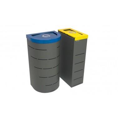 Papelera Niza Estándar Tapa Basculante 1 Residuo 95L con cubeto metálico CERVIC
