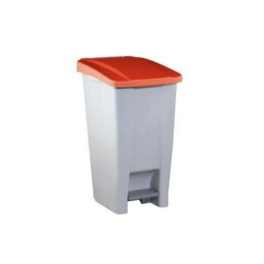 Contenedor de reciclaje con pedal de 60L Aitana – Tapa Roja Cervic
