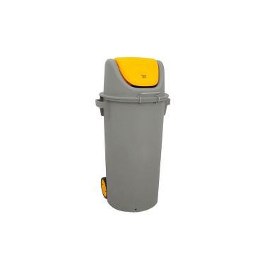 Contenedor de reciclaje con tapa basculante de 80L – Tapa Amarilla Cervic