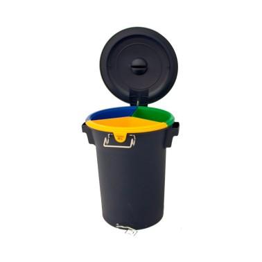 Contenedor de reciclaje multiresiduo con pedal de 52L Cervic