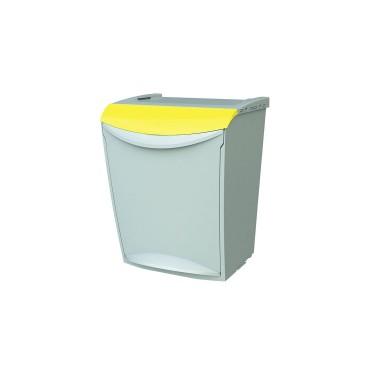 Contenedor de reciclaje apilable con pedal de 25L – Tapa Amarillo Cervic