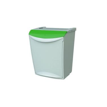 Contenedor de reciclaje apilable con pedal de 25L – Tapa Verde Cervic