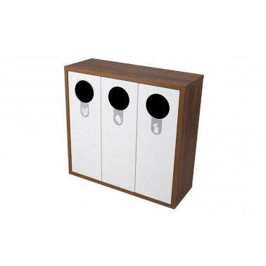 Mueble de madera con tres contenedores de reciclaje de 120L Helsinki Cervic