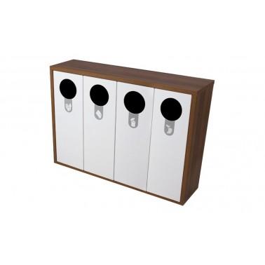 Mueble de madera con cuatro contenedores de reciclaje de 120L Helsinki Cervic