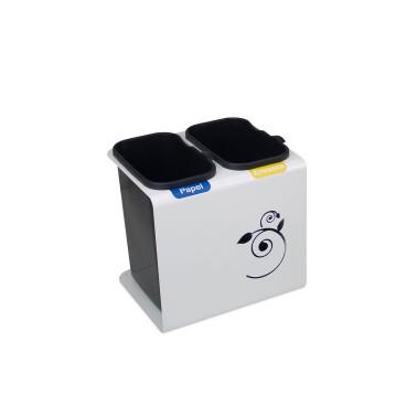 Papelera de reciclaje con tapa con dos residuos de 30L Luna Cervic