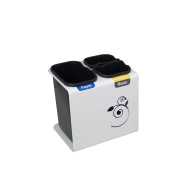 Papelera de reciclaje con tapa con tres residuos de 30L Luna Cervic