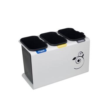 Papelera de reciclaje con tapa con tres residuos de 45L Luna Cervic