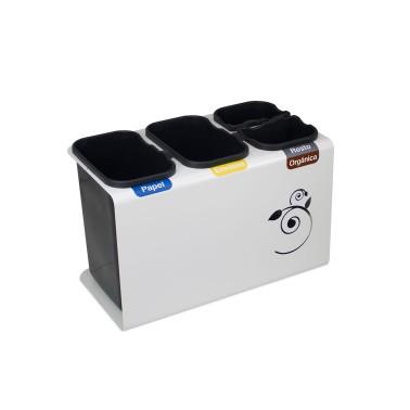 Papelera de reciclaje con tapa con cuatro residuos de 45L Luna Cervic