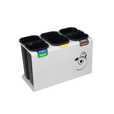 Papelera de reciclaje con tapa con cinco residuos de 45L Luna Cervic