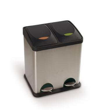 Papelera de reciclaje dos residuos con pedal de 30L Premium Cervic