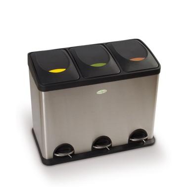 Papelera de reciclaje tres residuos con pedal de 45L Premium Cervic