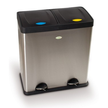 Papelera de reciclaje dos residuos con pedal de 60L Premium Cervic