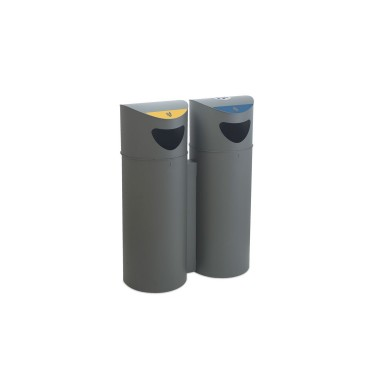 Papelera urbana de reciclaje de 75L con aro sujeta-bolsas Oslo Cervic