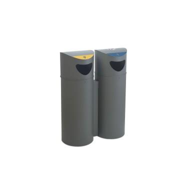 Papelera de reciclaje con cenicero de 75L con cubeto metálico Oslo Cervic
