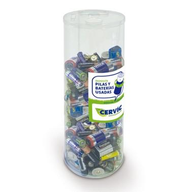 Contenedor Maxi recicla pilas desechable acabado traslúcido de 6L Cervic