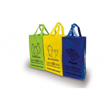 Pack de 3 bolsas de rafia serigrafiadas para reciclaje Cervic