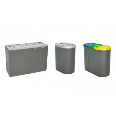Papelera Niza con Trampilla Autocierre 1 Residuo 75L con cubeto metálico CERVIC