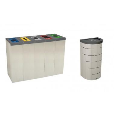Papelera Niza INOX con Trampilla Autocierre 1 Residuo 95L con cubeto metálico CERVIC
