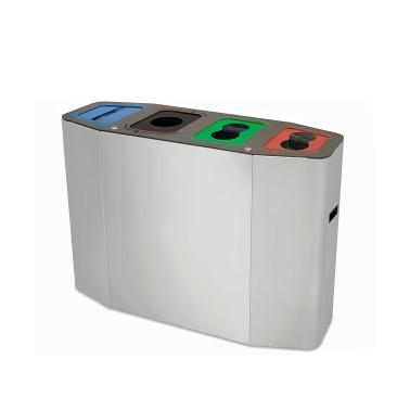 Papelera Munich con Bocas Selectivas 4 Residuos 220L con cubeto metálico CERVIC