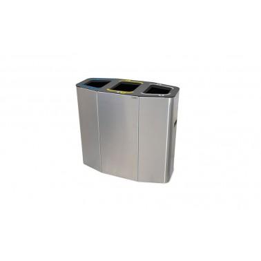 Papelera Munich INOX Bocas Selectivas 3 Residuos 160L con cubeto metálico CERVIC