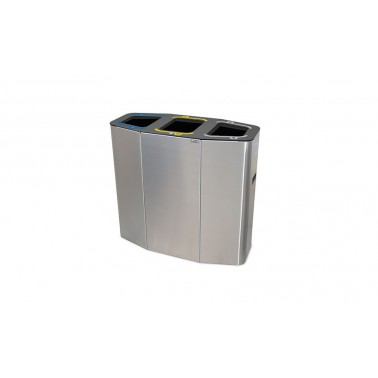 Papelera Munich INOX Bocas Selectivas 4 Residuos 220L con cubeto metálico CERVIC
