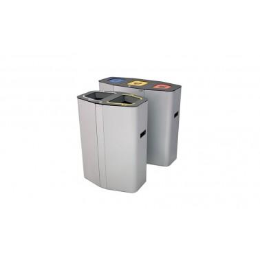 Papelera Munich INOX Trampilla Autocierre 3 Residuos 160L con cubeto metálico CERVIC