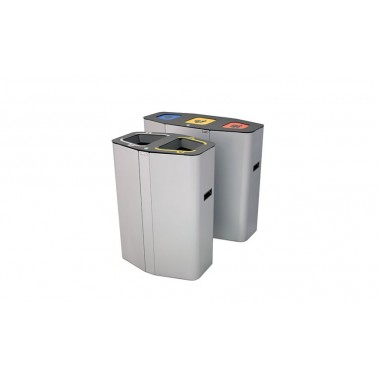 Papelera Munich INOX Auto-Extinguible 3 Residuos 160L CERVIC