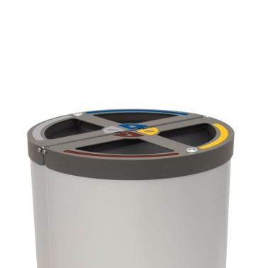 Papelera Madrid 4 Residuos con cubeto metálico 180L CERVIC