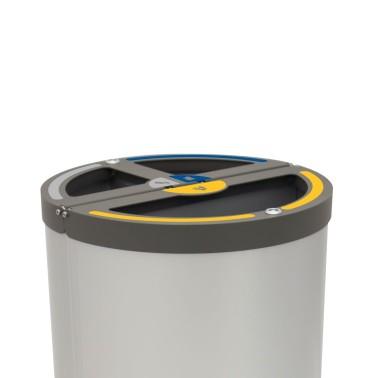 Papelera Madrid INOX 3 Residuos con cubeto metálico 120L CERVIC