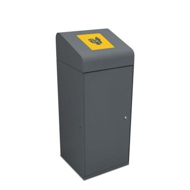Papelera Berlín Estándar con Trampilla Autocierre 1 Residuo 95L con cubeto metálico CERVIC