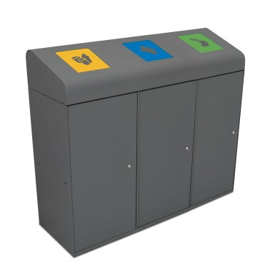 Papelera Berlín Estándar con Trampilla Autocierre 3 Residuos 285L con cubeto metálico CERVIC