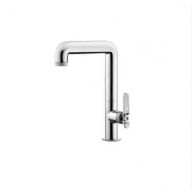 Grifo alto de lavabo sin desagüe semiautomático con palanca modelo Strem Galindo