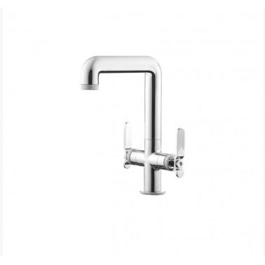 Grifo alto de lavabo bimando sin desagüe semiautomático modelo Strem Galindo