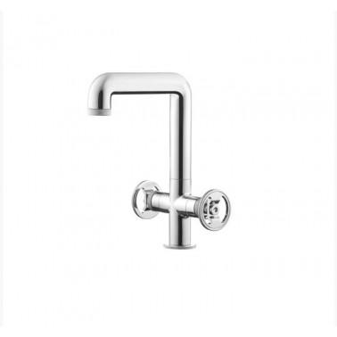 Grifo alto bimando de lavabo sin desagüe semiautomático modelo Strem Galindo