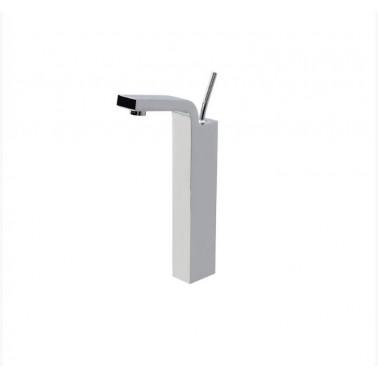 Grifo alto de lavabo níquel con desagüe semiautomático modelo Hey Joe Galindo