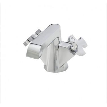 Grifo de lavabo cromo bimando sin desagüe semiautomático Belmondo Galindo