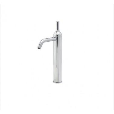 Grifo alto de lavabo blanco con desagüe semiautomático modelo Batlo Galindo