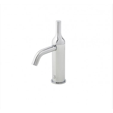 Grifo de lavabo blanco con desagüe semiautomático modelo Batlo Galindo