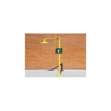 Ducha de emergencia a suelo con rociador fabricada en ABS Komercia