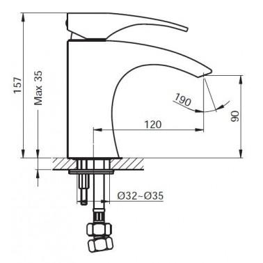 Grifo monomando de lavabo Serie 500