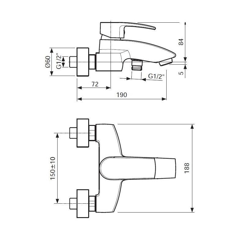 Grifo monomando para baño y ducha Serie 600