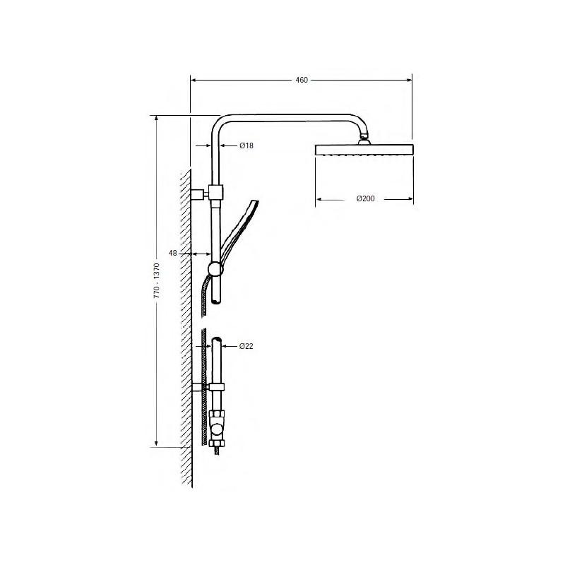 Columna de ducha redonda monomando minimalista Serie 800