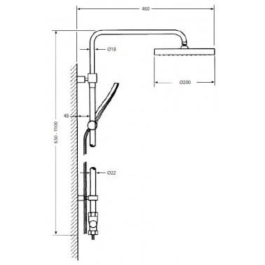 Columna de ducha termostática y telescópica Serie 800