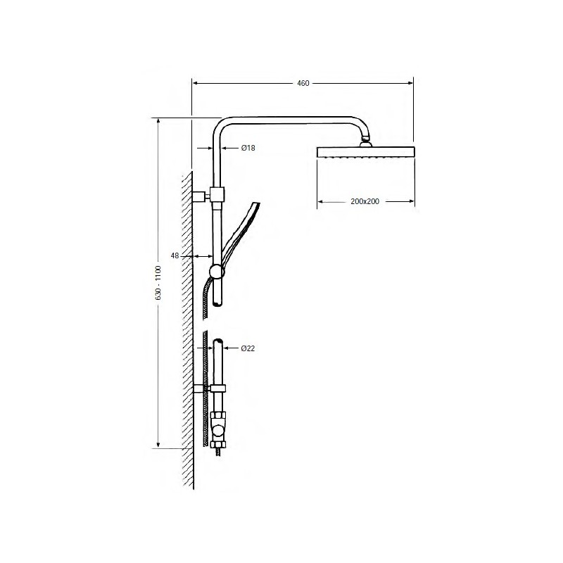 Columna de ducha telescópica y termostática Serie 800