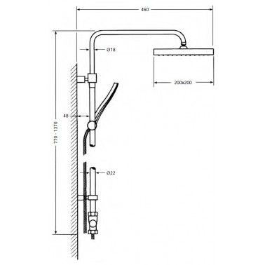 Columna de ducha telescópica cuadrada Serie 900