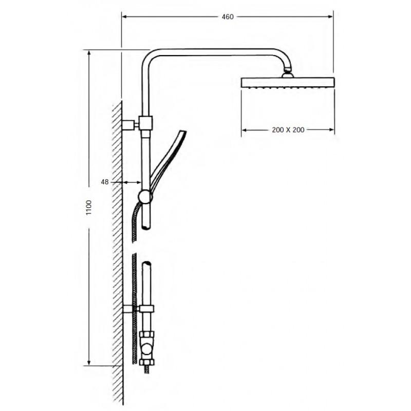 Columna de ducha termostática cuadrada Serie 900
