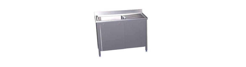 Sinks with sliding doors