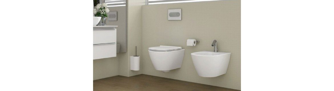 Discharge plates and faucets for built-in WC